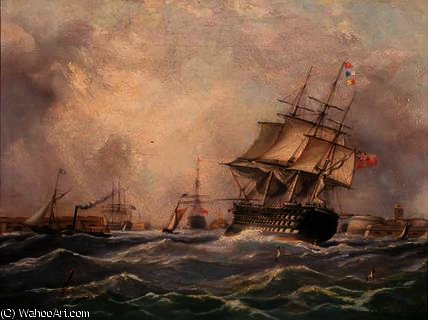 British Warship off Portsmouth,, 1840 by Thomas Buttersworth (1768-1842, United Kingdom)