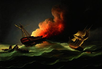 The East Indiaman Kent on Fire in the Bay of Biscay by Thomas Buttersworth (1768-1842, United Kingdom)