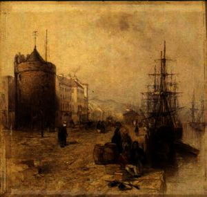 Thomas Creswick - Figures on a Quay, Waterf..