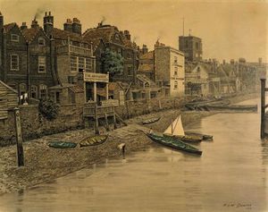 Walter Greaves - A Thames View Showing the..