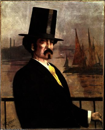 Portrait of Whistler on the Thames by Walter Greaves (1846-1930, United Kingdom) | Paintings Reproductions Walter Greaves | ArtsDot.com