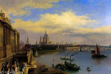 The Thames and St. Paul's Cathedral by William Parrott (1813-1869, United States) | ArtsDot.com