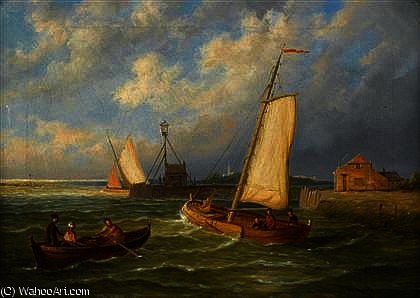 Sailing boats and a row boat off a harbor by William Raymond Dommersen (1580-1927, Netherlands) | Paintings Reproductions William Raymond Dommersen | ArtsDot.com
