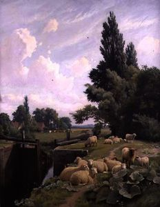 William Sidney Cooper - Landscape with a Canal Lo..