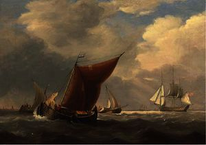 Charles Martin Powell - An english flagship heaving-to off the dutch coast with barges inshore