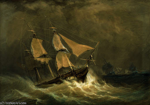 A squadron in a squall by John Christian Schetky (1778-1874, United Kingdom)