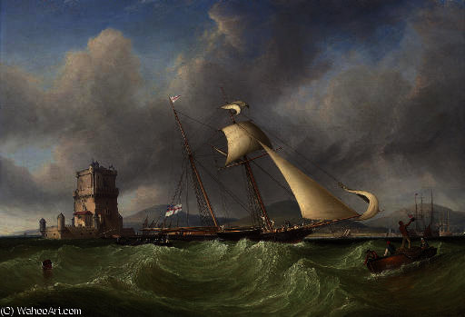 Lord belfast's yacht emily hove-to for her owner to come aboard, off the belem tower, at the mouth of the tagus, lisbon by John Christian Schetky (1778-1874, United Kingdom)