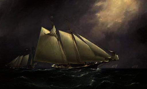 `dauntless` leading `columbia` at the lightship with `madeleine` following by Thomas Buttersworth (1768-1842, United Kingdom) | Art Reproduction | ArtsDot.com