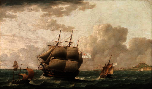 A british frigate and other shipping in choppy seas by Thomas Buttersworth (1768-1842, United Kingdom)