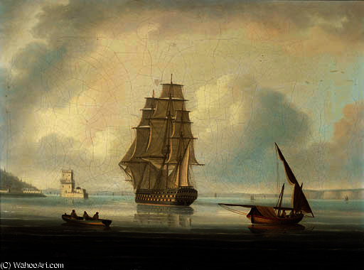 A british man-o`war running into lisbon with the belem tower off her port bow by Thomas Buttersworth (1768-1842, United Kingdom) | Museum Art Reproductions | ArtsDot.com