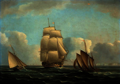 A man-o'war off the north foreland with a convoy astern by Thomas Buttersworth (1768-1842, United Kingdom)
