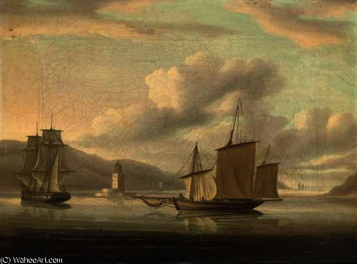 A royal naval frigate towing a lugger past the belem tower with the fleet standing out to sea by Thomas Buttersworth (1768-1842, United Kingdom)