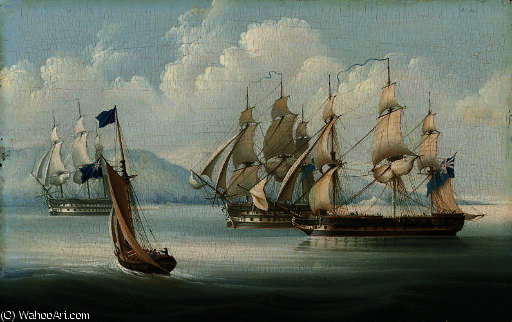 A squadron of the blue in the mediterranean by Thomas Buttersworth (1768-1842, United Kingdom)