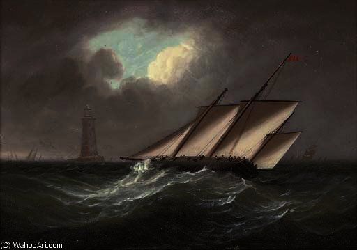 An armed lugger heeling in the breeze off the eddystone lighthouse by Thomas Buttersworth (1768-1842, United Kingdom)