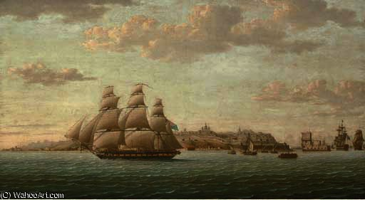 Captain lord cochrane's frigate pallas leaving the tagus under full sail, the city of lisbon beyond and the belem tower receding astern by Thomas Buttersworth (1768-1842, United Kingdom)