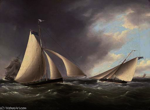 Cutters racing in the channel off the seven sisters by Thomas Buttersworth (1768-1842, United Kingdom)