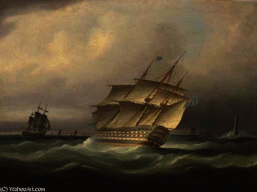 H.m.s. britannia bearing away down the channel and passing the eddystone lighthouse by Thomas Buttersworth (1768-1842, United Kingdom)
