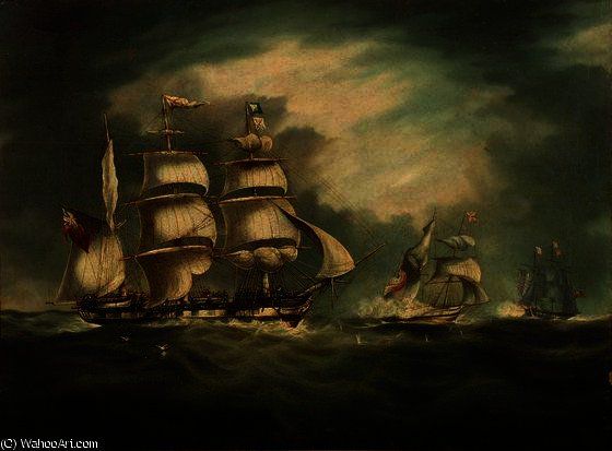 HMS Belle Poule, HMS Hermes, and Gipsy by Thomas Buttersworth (1768-1842, United Kingdom)