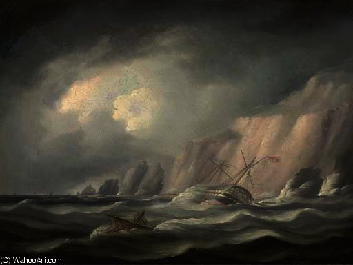 In dangerous waters by Thomas Buttersworth (1768-1842, United Kingdom)