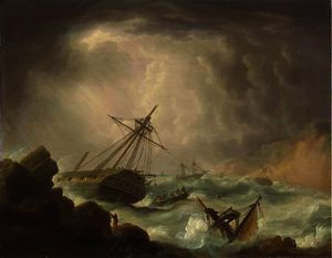 Thomas Buttersworth - Ships of the royal navy caught..