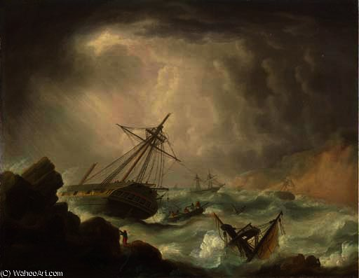 Ships of the royal navy caught in a gale on a lee shore, a dismasted frigate foundering on the rocks in the foreground by Thomas Buttersworth (1768-1842, United Kingdom)