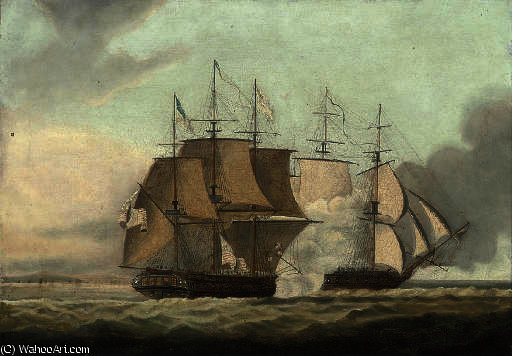 The action between h.m.s. shannon and the u.s.s. chesapeake by Thomas Buttersworth (1768-1842, United Kingdom)