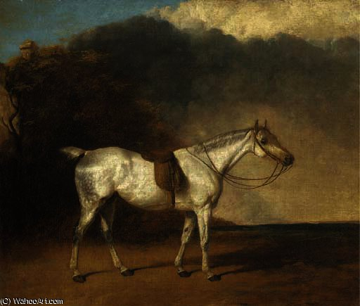 A saddled grey hunter in a landscape by Abraham Cooper (1787-1868, United Kingdom)