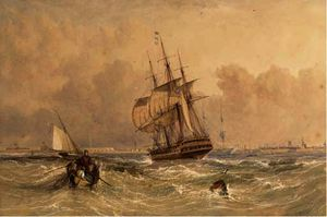 Adolphus Knell - Frigates and a cutter at ..