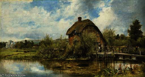 A figure by a mill cottage in a river landscape with a village in the distance, traditionally believed to be near winchester, hampshire by Frederick Waters (William) Watts (1800-1870, United Kingdom)