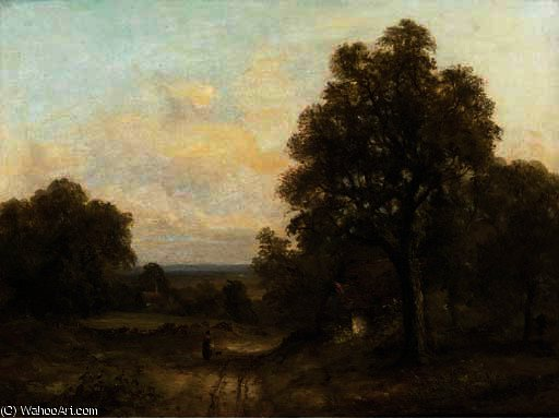 A figure on a track in a wooded landscape by Frederick Waters Watts (1800-1870, United Kingdom)
