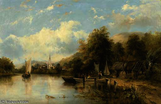 A wooded river landscape with a ferry in the foreground and a village beyond, traditionally identified as 'on the stour' by Frederick Waters (William) Watts (1800-1870, United Kingdom)