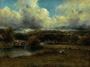 Frederick Waters (William) Watts - A wooded river landscape with a hamlet by a bridge