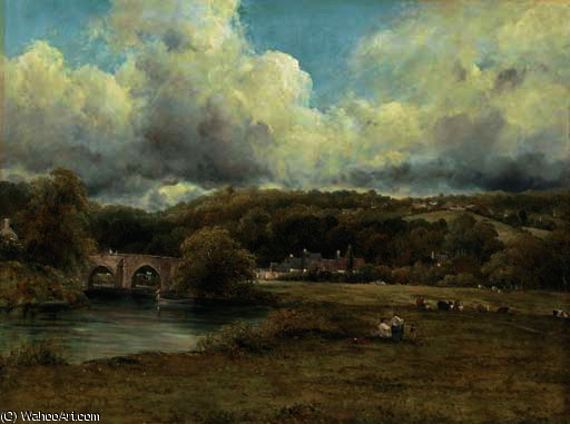 A wooded river landscape with a hamlet by a bridge by Frederick Waters (William) Watts (1800-1870, United Kingdom)
