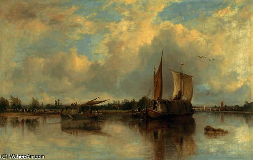View of barges on the thames with henley beyond by Frederick Waters (William) Watts (1800-1870, United Kingdom)