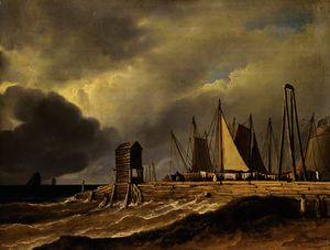 James Arthur O Connor - A pier in choppy seas with figures in the foreground and sailing boats beyond, traditionally described as -the old fish market at brighton-