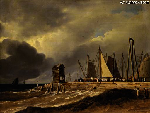 A pier in choppy seas with figures in the foreground and sailing boats beyond, traditionally described as `the old fish market at brighton` by James Arthur O Connor (1792-1841, Ireland) | Oil Painting | ArtsDot.com