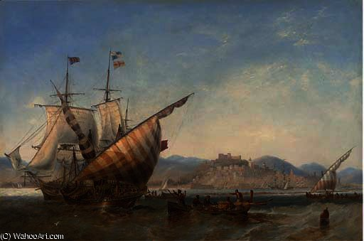 A british frigate and mediterranean xebecs off sidon, lebanon by John Wilson Carmichael (1800-1868, United Kingdom)