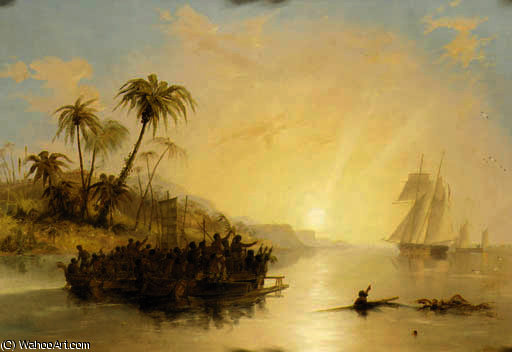 A british surveying ship in the south pacific greeted by islanders in outrigger canoes by John Wilson Carmichael (1800-1868, United Kingdom)