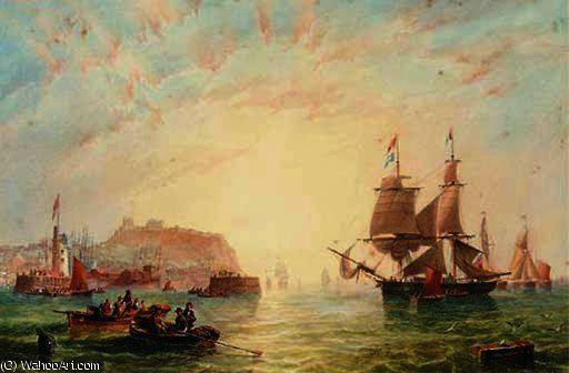 A trading brig and other vessels off the entrance to scarborough by John Wilson Carmichael (1800-1868, United Kingdom)