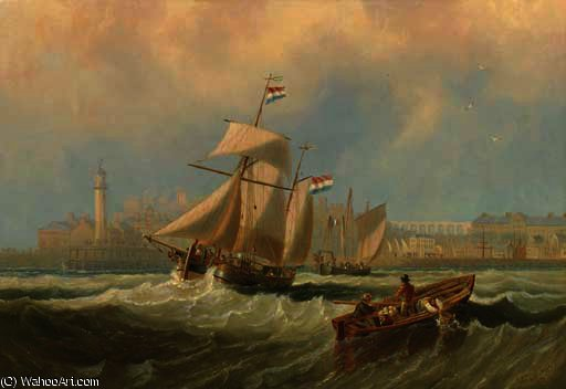Dutch barges running out of channel port thought to be margate by John Wilson Carmichael (1800-1868, United Kingdom)