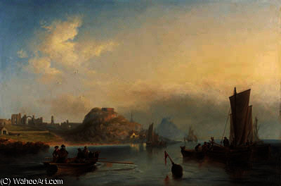 Fishing boats off holy island, northumberland by John Wilson Carmichael (1800-1868, United Kingdom)