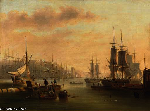 Hustle and bustle and a forest of masts in a port by John Wilson Carmichael (1800-1868, United Kingdom) | ArtsDot.com