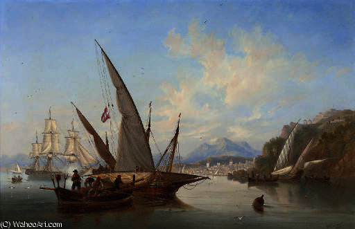 Local craft and a saluting frigate in the bay off rethymnon by John Wilson Carmichael (1800-1868, United Kingdom)
