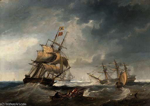Merchantmen in stormy seas by John Wilson Carmichael (1800-1868, United Kingdom)