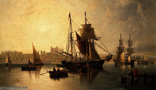 On the medway, rochester by John Wilson Carmichael (1800-1868, United Kingdom)
