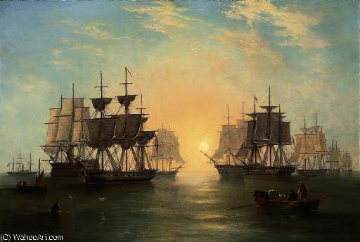 The fleet at anchor in an evening calm by John Wilson Carmichael (1800-1868, United Kingdom)