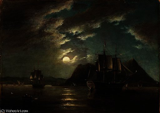 The minden 74 off gibraltar in moonlight by John Wilson Carmichael (1800-1868, United Kingdom)