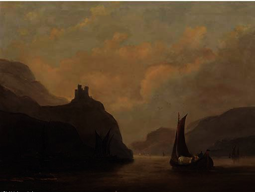 Vessels on a tranquil estuary by John Wilson Carmichael (1800-1868, United Kingdom)