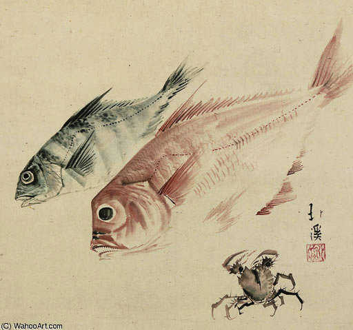 Still life of fish and crab by Toyota Hokkei (1780-1850, Japan) | Painting Copy | ArtsDot.com