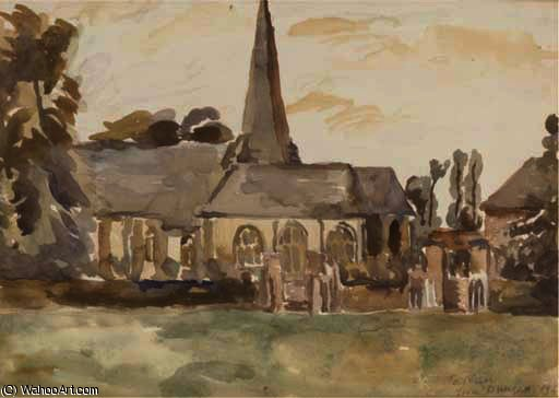 A rural church by Duncan Grant (1885-1978, Scotland) | Painting Copy | ArtsDot.com